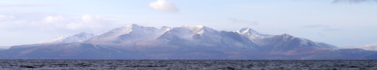 Snowcapped Arran, the home of Creelers Arran Smoked Products Scottish Smoked